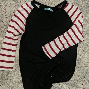 Red/white stripe with black 3/4 Sleeve Blouse